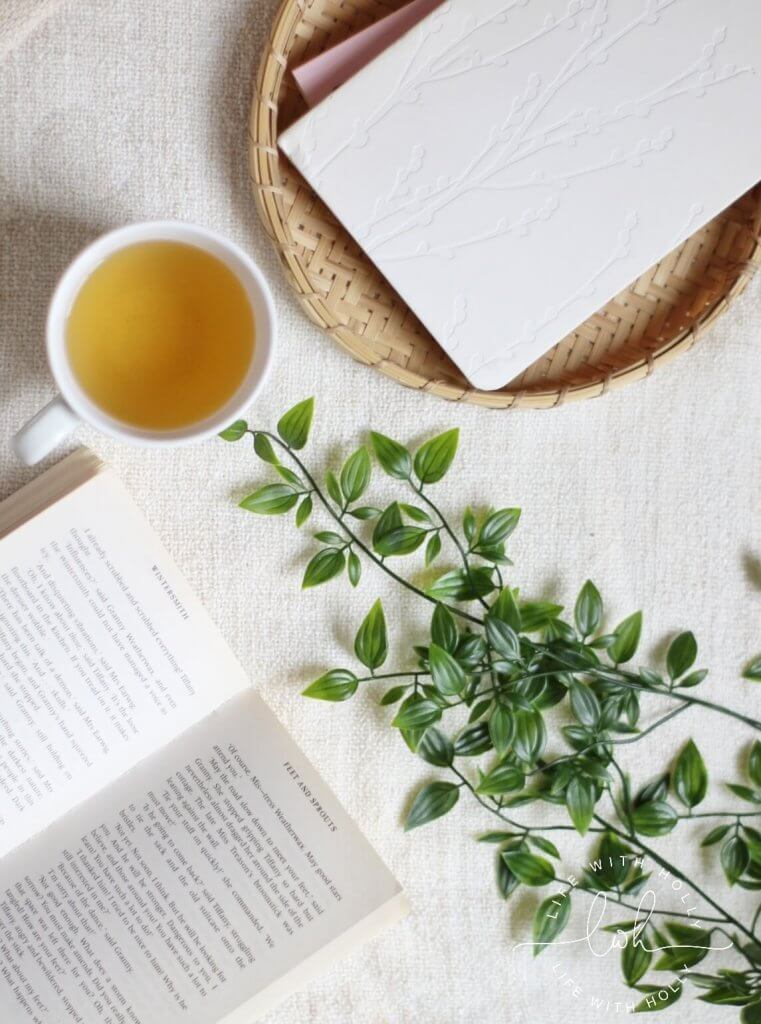 Green Tea and Book Flat Lay Ideas - Anxiety and Me - Life with Holly