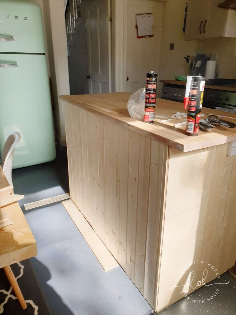 Grey Country kitchen wood panelling tutorial by Life with Holly
