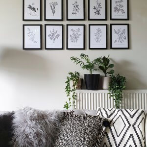 Gallery wall in lounge, black and white, botanical prints, free printable