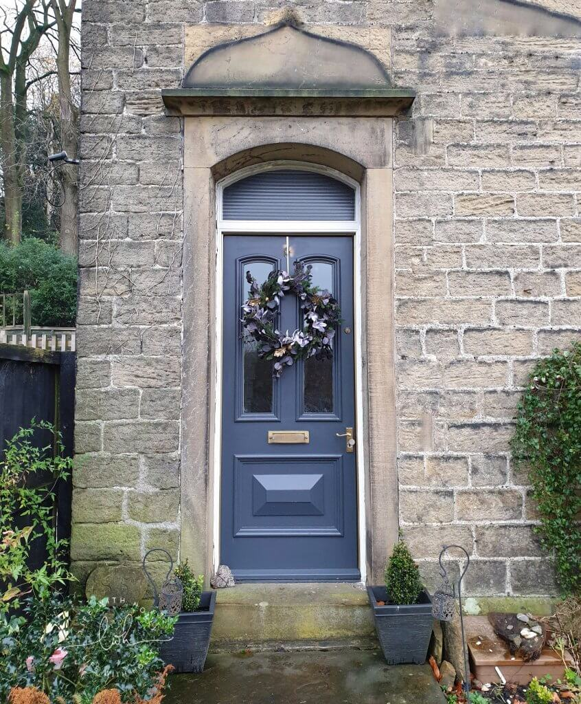 Victorian Front Door with Christmas Wreath - Faux Christmas Wreath Workshop with OKA Harrogate by Life with Holly