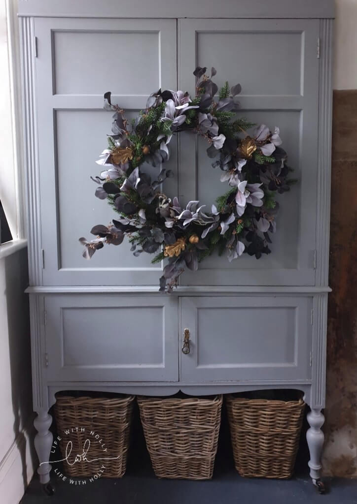 Grey and Gold Faux Wreath - Faux Christmas Wreath Workshop with OKA Harrogate by Life with Holly