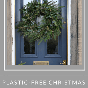 Greenery Foliage Christmas Door Wreath on Period Railings Front Door