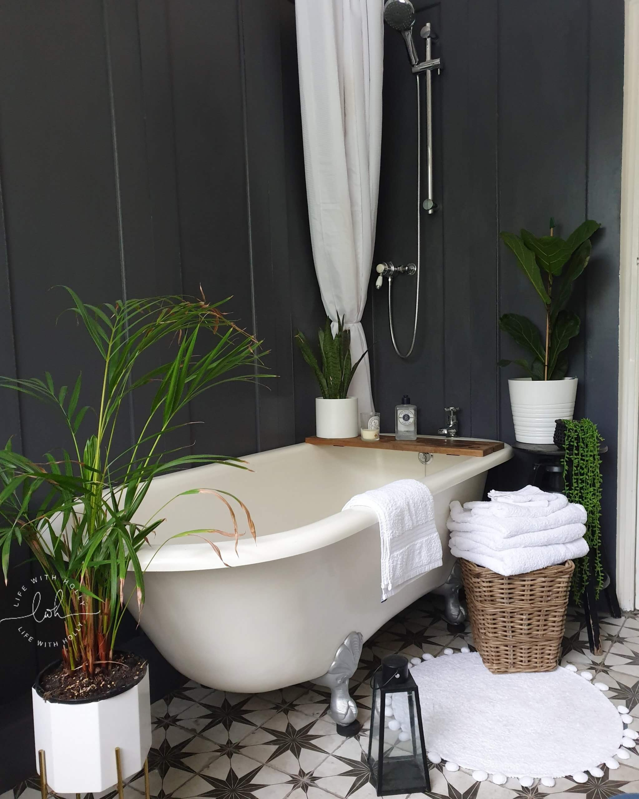 Modern Victorian Bathroom with Wood Panelling in Railings and Rolltop Bath by Life with Holly 2020 House Goals
