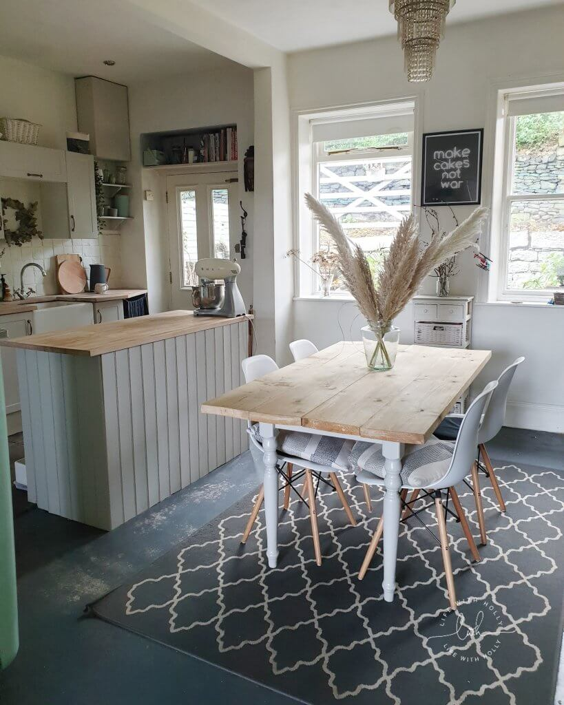 Open Plan Kitchen Diner in Grey Shaker Style with Pampas Grass by Life with Holly