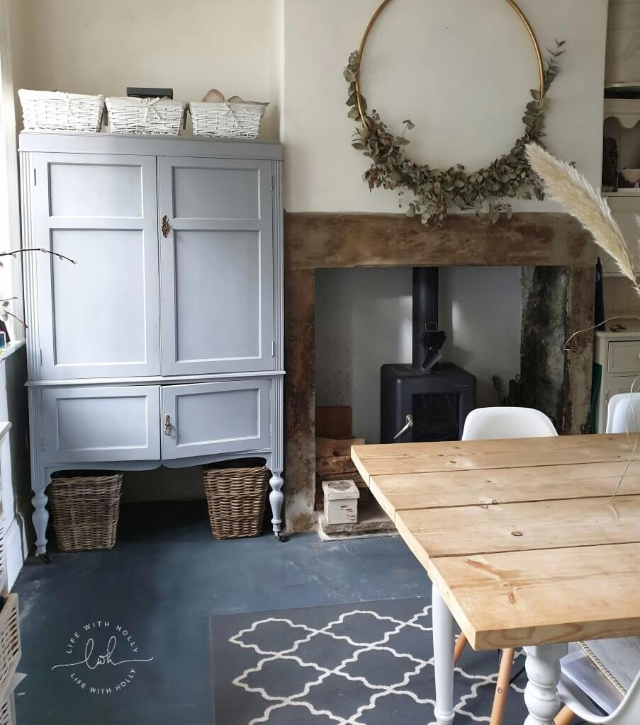 Grey Pantry Cupboard in Victorian Kitchen by Life with Holly 2020 House Goals