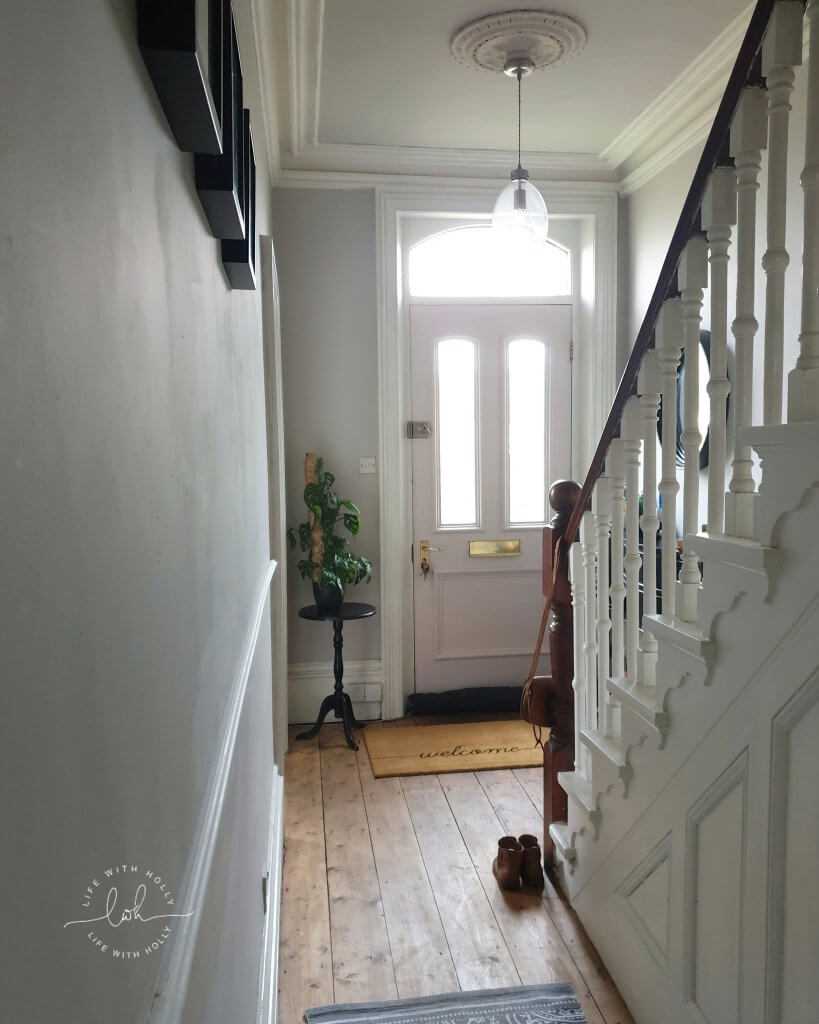 Modern Victorian Hallway with Pink Door by Life with Holly