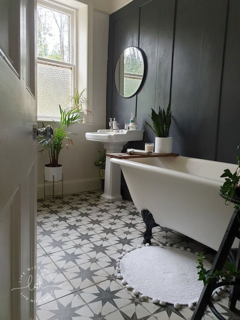 Modern Victorian Bathroom with Dark Wood Wall Panelling by Life with Holly